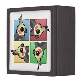 Cockatiel de cuatro colores cajas de joyas de calidad
