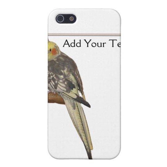 Cockatiel de varios colores en una rama con blanco iPhone 5 funda