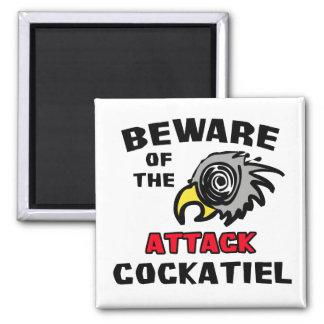 Cockatiel del ataque imán cuadrado