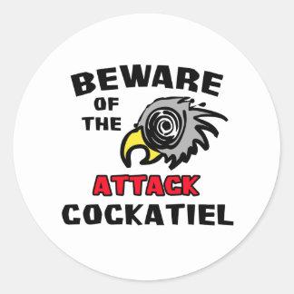 Cockatiel del ataque pegatina redonda