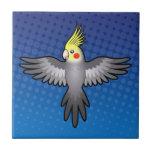 Cockatiel del dibujo animado azulejo cuadrado pequeño