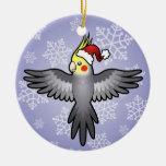 Cockatiel del navidad adorno navideño redondo de cerámica