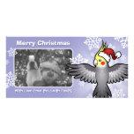 Cockatiel del navidad plantilla para tarjeta de foto