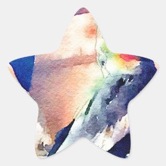 Cockatiel del Watercolour Pegatina En Forma De Estrella