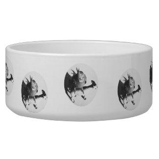 Cockatiel en círculo del bw de la cabra bol para perro