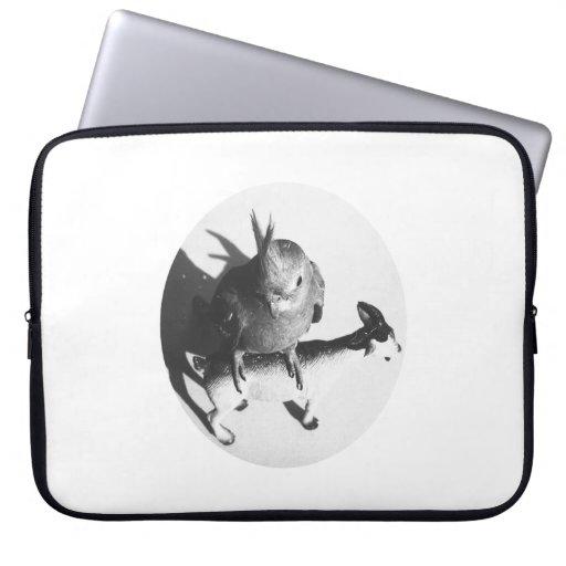 Cockatiel en círculo del bw de la cabra funda portátil