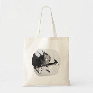 Cockatiel en imagen blanco y negro de la cabra de  bolsa