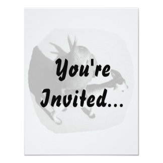 """Cockatiel en imagen blanco y negro de la cabra de invitación 4.25"""" x 5.5"""""""
