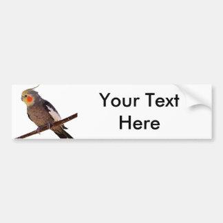 Cockatiel Gray and Yellow Pet Bird Photograph Bumper Sticker