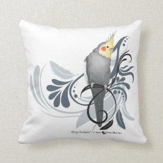 Cockatiel gris cojín decorativo