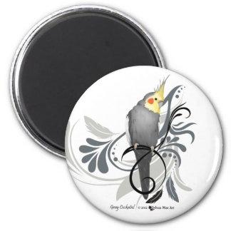 Cockatiel gris imán redondo 5 cm