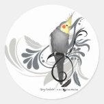 Cockatiel gris pegatinas redondas