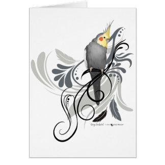 Cockatiel gris tarjeta de felicitación