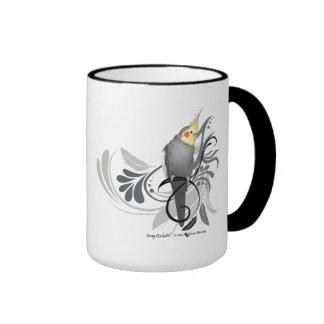 Cockatiel gris taza de dos colores
