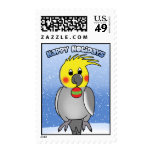 Cockatiel Happy Holidays Postage Stamps