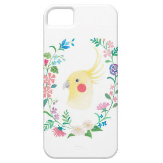 Cockatiel Lutino Yellow with Flowers Phone Case