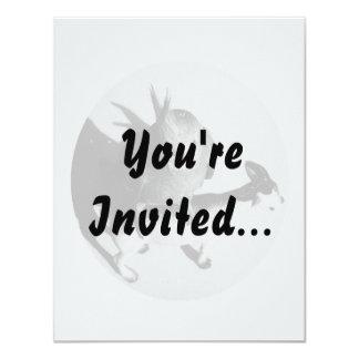 Cockatiel on goat bw circle 4.25x5.5 paper invitation card