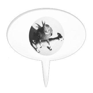 Cockatiel on goat bw circle cake picks