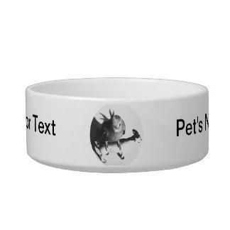 Cockatiel on goat bw circle cat food bowls