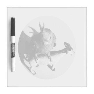 Cockatiel on goat bw circle Dry-Erase whiteboard