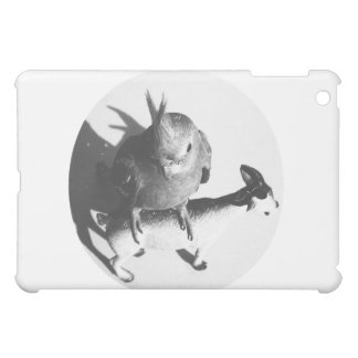 Cockatiel on goat bw circle iPad mini covers
