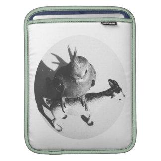 Cockatiel on goat bw circle iPad sleeves