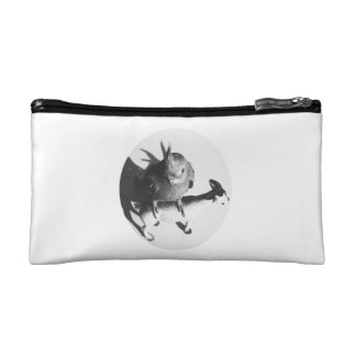Cockatiel on goat bw circle makeup bags