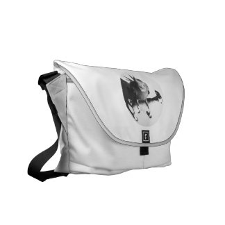 Cockatiel on goat bw circle messenger bag