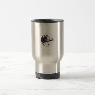 Cockatiel on goat bw circle mug