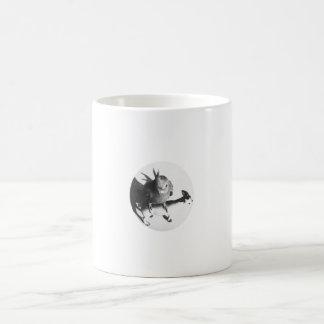 Cockatiel on goat bw circle coffee mugs