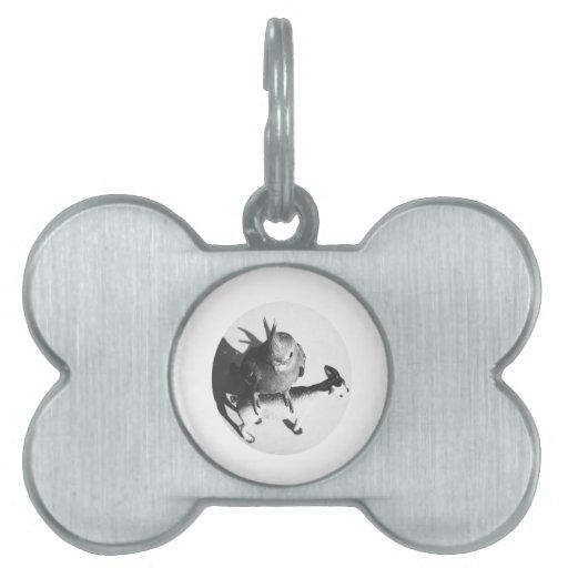 Cockatiel on goat bw circle pet ID tag