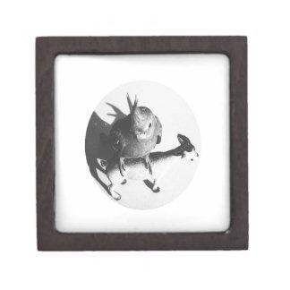Cockatiel on goat bw circle premium gift box