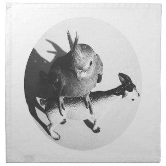 Cockatiel on goat bw circle printed napkin