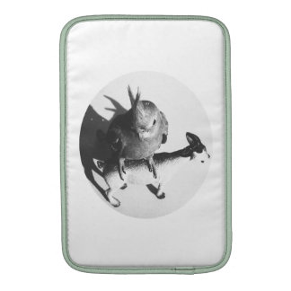Cockatiel on goat bw circle sleeve for MacBook air