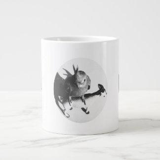 Cockatiel on goat bw circle jumbo mugs