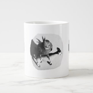 Cockatiel on rubber goat black and white picture giant coffee mug