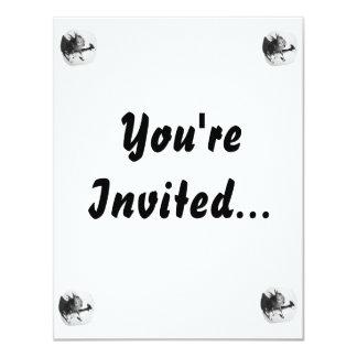 Cockatiel on rubber goat black and white picture invitations
