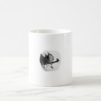 Cockatiel on rubber goat black and white picture mug