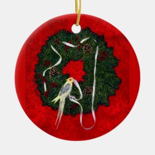 """Cockatiel, ornamento del pájaro - """"el pequeño adorno navideño redondo de cerámica"""