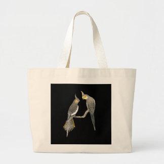 Cockatiel Pair - Nymphicus hollandicus on Black Large Tote Bag