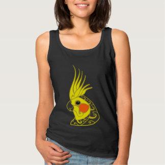 Cockatiel parrot tribal tattoo basic tank top