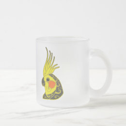 Cockatiel parrot tribal tattoo frosted glass coffee mug