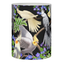 Cockatiel Parrots in Ferns Flameless LED Candle