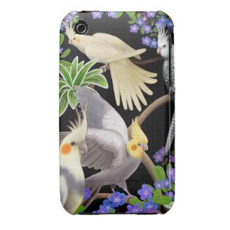 Cockatiel Parrots in Flowers iPhone 3 Case