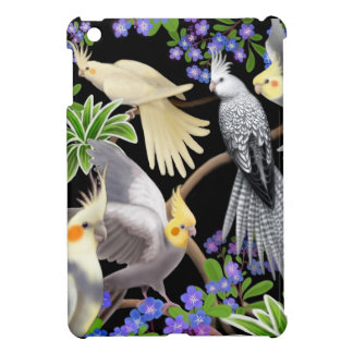 Cockatiel Parrots in Forget Me Nots iPad Mini Case