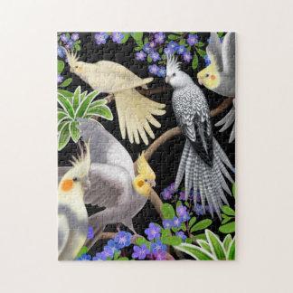 Cockatiel Parrots in Forget Me Nots Puzzle