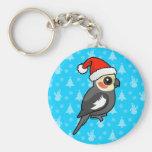 Cockatiel Santa Basic Round Button Keychain