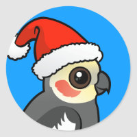 Cockatiel Santa Round Sticker