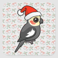 Cockatiel Santa Square Sticker