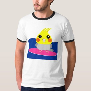 Beach Themed Cockatiel surfing tshirt parrot bird character